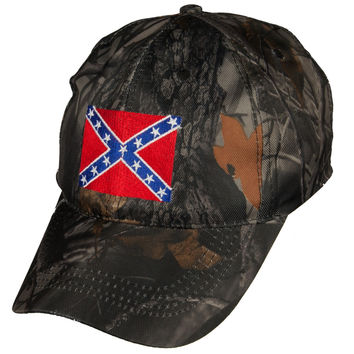 Rebel Flag Stitched Patch Camo Velcro Hat