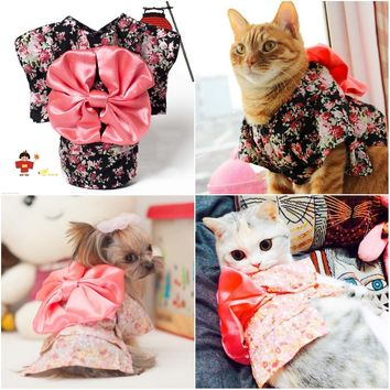 Japan Style Pet Cat Kimono small flower pet clothes dog cat kimono with Big bowknot Dress up necessary For Small Dog Cat