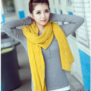 Yellow Knitted Wool Scarf
