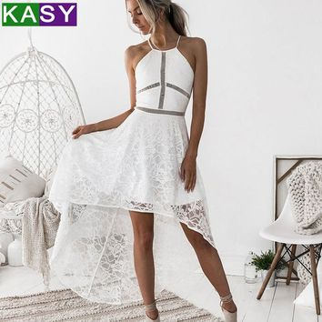 ladies white lace dress 2018 woman elegant sleeveless see through summer dress eveving party halter backless club wear dress S