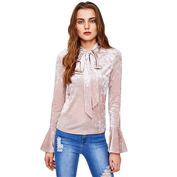 Bow Tied Neck Flare Sleeve Crushed Velvet Blouse