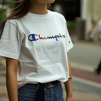'' Champion '' Women Embroidery Simple T-shirt