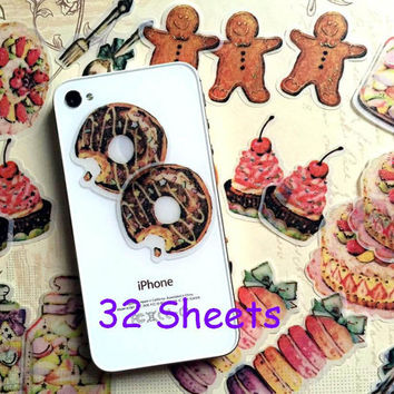 colorful cake sticker macaron set doughnut pancake decor sticker dessert baking time gingerbread man planner sticker cooking label