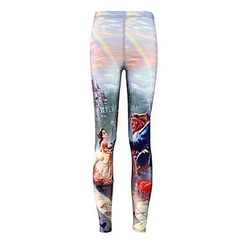 Plus size Summer leggings Women Hot Leggings Digital Print Popular Beauty and the Beast Fitness Sexy LEGGING Drop Ship