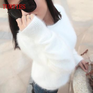 New Autumn and Winter fashion Mink Cashmere Slim bottoming Sweater Women Mink Sweater Knit Pullover Warm female