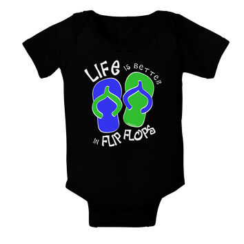 Life is Better in Flip Flops - Blue and Green Baby Bodysuit Dark