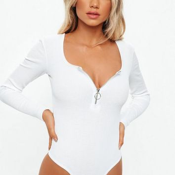 Missguided - White Zip Front Long Sleeve Ribbed Bodysuit