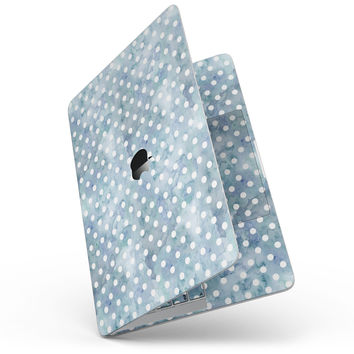 White Polka Dots over Pale Blue Watercolor - MacBook Pro without Touch Bar Skin Kit