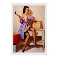 Vintage Retro Gil Elvgren Decorator Pin Up Girl