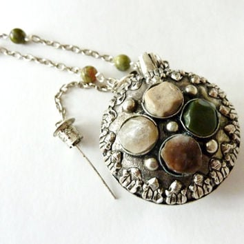 Vintage Bottle Necklace. Mini Flask/Snuff/Perfume Bottle Pendant. Unakite and Agate Stone