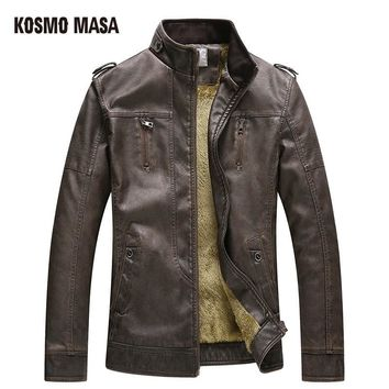 Faux Fur PU Leather Suede Jacket for Men Winter Mens Turkey Motorcycle Bikers Slim Black Fit Coats