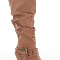 Tall High Heel Boot with Studded Strap at Ankle