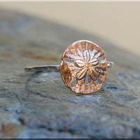Sand Dollar Stacking Ring, Sterling Silver and Brass ring, Stacking Ring, Ocean Stacking ring, Brass Sand Dollar stacking ring, Sea creature