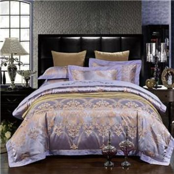 Purple and Gold Embroidered Bedding Set