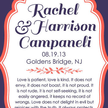Custom Wedding Print - Love is Patient, Love is Kind - 1 Corinthians 13: 4-8 - 8x10 PRINT - Christian Art