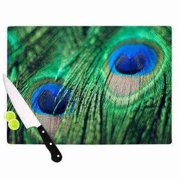 """Chelsea Victoria """"Peacock Feathers"""" Blue Green Cutting Board"""