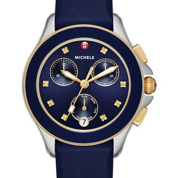 MICHELE 'Cape' Chronograph Silicone Strap Watch, 34mm   Nordstrom