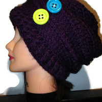 Slouchy purple beanie with green and blue buttons