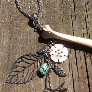 Bone Necklace - Real Animal Bone Jewelry - Woodland Elven Jewelry - Floral Leaves Shell Pendant - Turquoise Jewelry - Pagan  Wiccan Jewelry