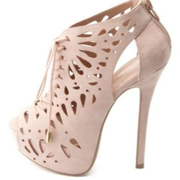 Laser Cut-Out Peep Toe Lace-Up Booties by Charlotte Russe - Nude