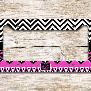Personalized Chevron license plate or frame monogram - Hot pink black Aztec - Tribal car tag bicycle license plate bike accessory (1298)