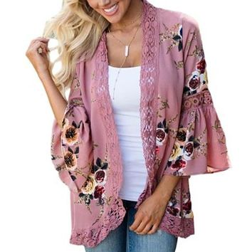 [15886] Bell Sleeve Lace Floral Kimono Cardigan
