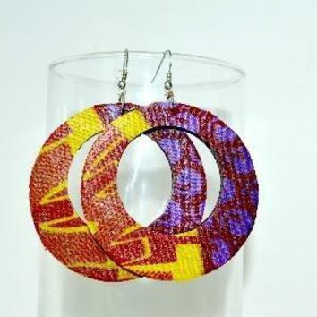 Purle Fabric Hoop Earrings