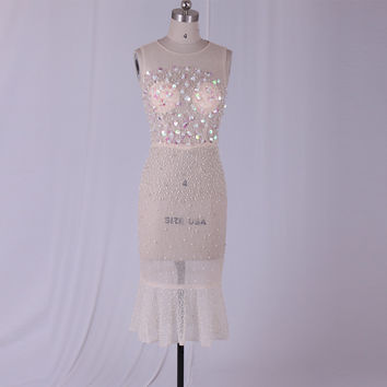 Champagne See Through Tulle Rhinestones Beading Cocktail Dresses Tea-Length Mermaid Style Sleeveless Free Shipping Party Dress