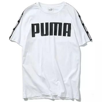 PUMA 2018 summer new fashion breathable sports casual short-sleeved trousers two-piece F-CY-MN white