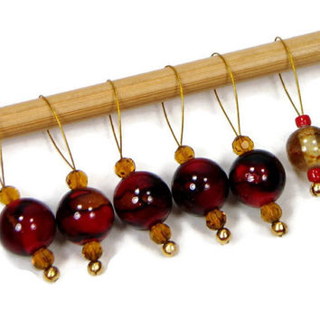 Beaded Stitch Markers, Amber, Red, Snag Free, Craft Supplies