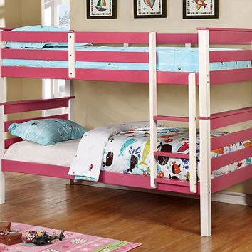 Polly Pink and White Twin over Twin Bunk Bed