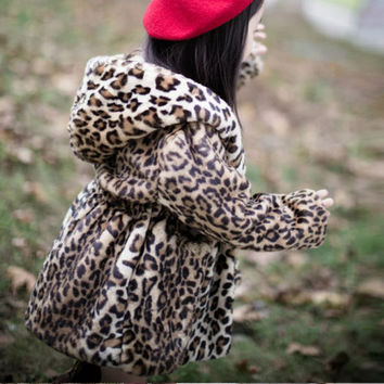 Hot sale fashion leopard hooded coats,long style trench outerwear warm cotton special clothing vintage fur overcoat for girls