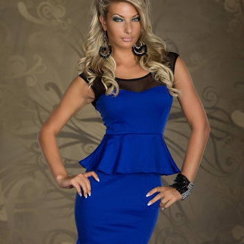 Blue Sleeveless Mesh Bodycon Peplum Mini Dress