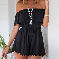 Black Off Shoulder Elastic Waist Romper