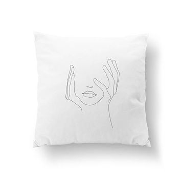 Hands On Face Pillow, Woman Art, Cushion Cover, Throw Pillow, Female Body, Bed Pillow, Minimalist Woman Pillow, Home Decor, Black And White