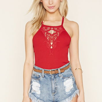 Crochet-Panel Cropped Cami