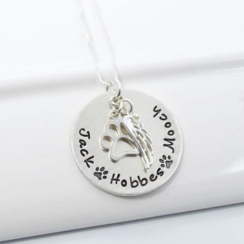 Pet Memory Necklace | Dog Lover Personalized Necklace | Dog Memory Necklace with Paw Charm and Wing