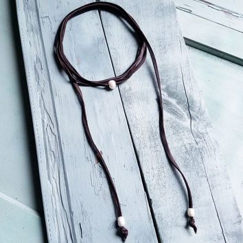 Freshwater Pearl Lariat Necklace in Brown 233F
