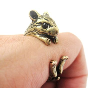 Realistic Hamster Gerbil Guinea Pig Shaped Animal Wrap Around Ring in Brass | US Sizes 4 to 8.5