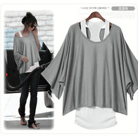 Grey Loose Bat Sleeve T-shirt Vest