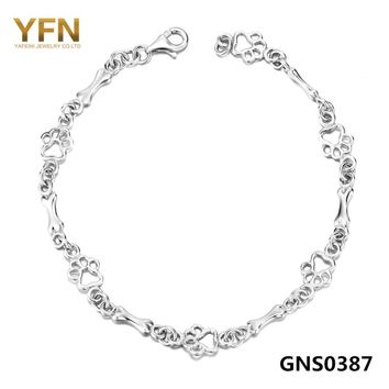 GNS0387 2016 Pulseras Genuine 925 Sterling Silver Women Bracelet Dog Paw and Bone Jewelry Chain Bracelet 19CM Length
