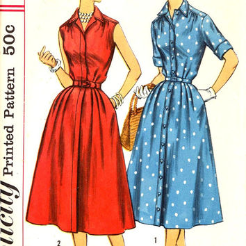 50s Shirtwaist dress Vintage sewing pattern Mid Century style dress Slenderette pattern sundress summer dress Simplicity 2047 Bust 36