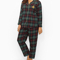 Lauren Ralph Lauren Plus Long-Sleeve Notch-Collar Brushed Twill Pajama