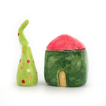 Christmas clay house & tree - miniature house - colorful home decor in green and red