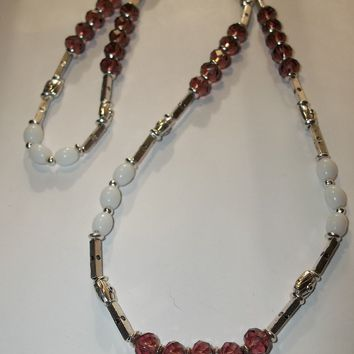 "Dusty Rose Swarovski Crystal & Vintage White Milk Glass Beaded Hand Crafted Silver 26"" Necklace"