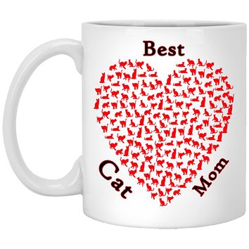 Cat Lovers Gifts, Best Cat Mom Kitty Heart Pattern Ceramic Coffee Mug