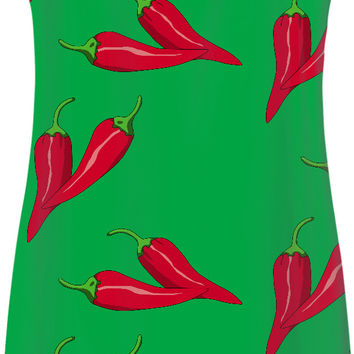 Green and red spicy pattern, red chili pepper asymetric theme, simple fit dress