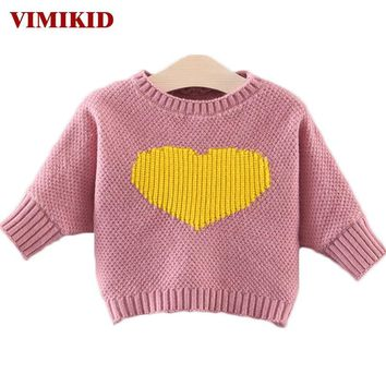 VIMIKID Baby Clothes 2017 Cute Love Hit Color Sweater Long Sleeve T-shirt Tops Baby Girls Tee Toddler Clothes Children Clothing