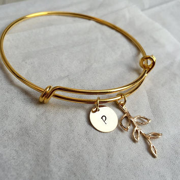 Branch bracelet, Gold branch pendant bracelet, initial bracelet, adjustable bracelet, white gold, Bridesmaid gift idea, Bridal gift for her