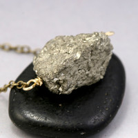 Pyrite Nugget Necklace - Raw Gemstone Necklace